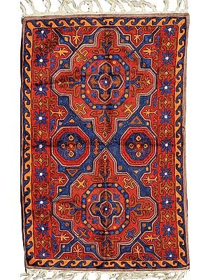 Red and Blue Prayer Rug with Embroidered Mughal Motifs