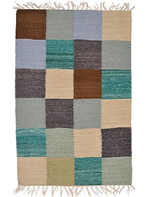 Multicolor Handloom Dhurrie from Sitapur with Woven Checks