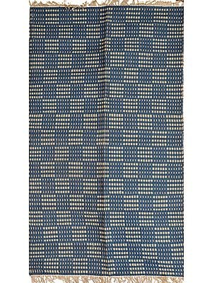Legion-Blue Dhurrie from Telangana with Woven Checks