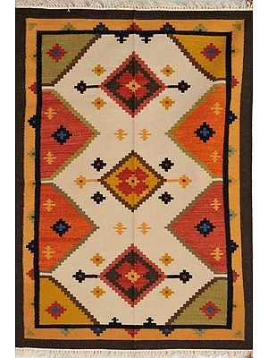 Multicolor Handloom Dhurrie from Sitapur with Woven Zigzag Motifs