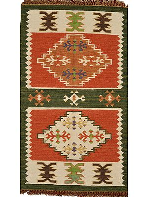 Olive and Red Handloom Dhurrie from Sitapur