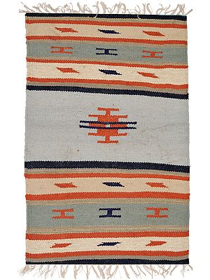 Sky-Gray Handloom Dhurrie from Sitapur with Woven Stripes
