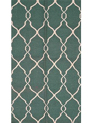 Sea-Pine Handloom Dhurrie from Sitapur with White Thread Weave