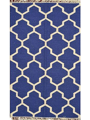 Blue and Ivory Handloom Dhurrie from Sitapur