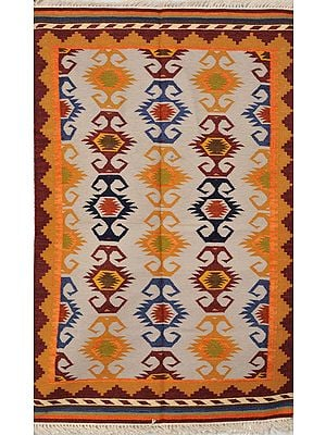 Multicolor Handloom Dhurrie from Sitapur with Woven Motifs