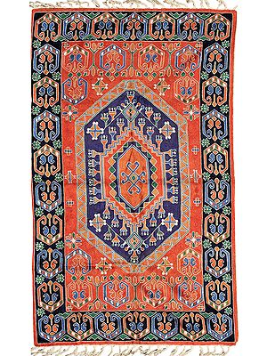 Red and Blue Prayer Rug from Kashmir with Embroidered Motifs