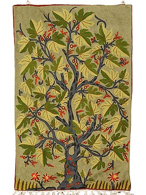 Green Asana cum Wall Hanging from Kashmir with Embroidered Maple Tree