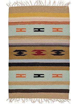 Fair-Aqua Handloom Dhurrie from Mirzapur with Woven Motifs and Stripes