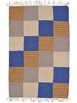 Multicolor Handloom Dhurrie from Mirzapur with Woven Checks