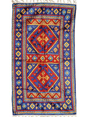Blue and Red Kashmiri Asana Mat with Embroidered Motifs