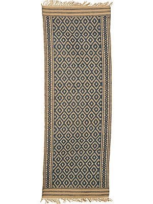 Blue and Beige Runner from Telangana with All-Over Weave