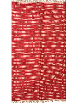 Jester-Red Dhurrie from Telangana with Woven Checks