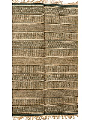 Green and Beige Dhurrie from Telangana with All-Over Weave