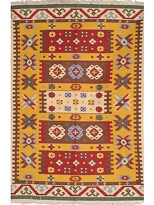 Sahara-Sun Handloom Dhurrie from Sitapur with Woven Kilim Design
