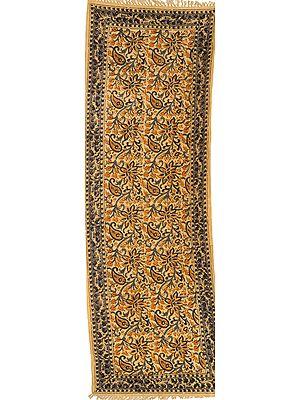 Italian-Straw Floral Printed Kalamkari Runner from Telangana