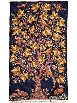 Dark-Blue Tree of Life Asana cum Wall Hanging from Kashmir
