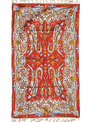 Chinese-Red Asana Mat from Kashmir with Embroidered Paisleys
