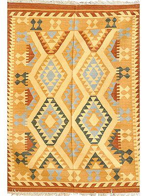 Beige Handloom Dhurrie from Sitapur with Kilim Motifs