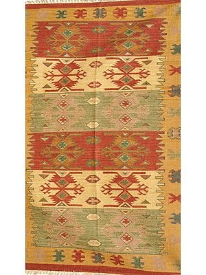 Kilim Handloom Dhurrie from Sitapur with Thread Weave