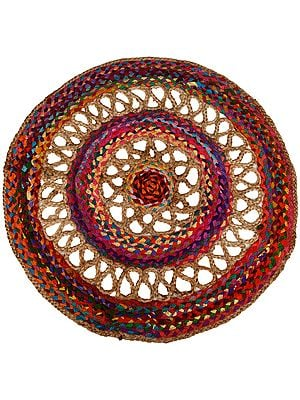 Multicolored Chakra Mat with Cut-work