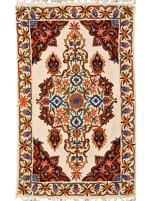 Cream Asana Mat from Kashmir with Floral-Embroidery