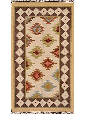 Off-White Handloom Dhurrie from Sitapur with Kilim Weave