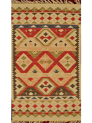 Oyster-White Kilim Handloom Dhurrie from Sitapur