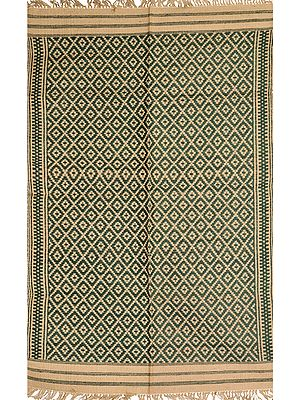 Green and Beige Dhurrie from Telangana with Woven Bootis