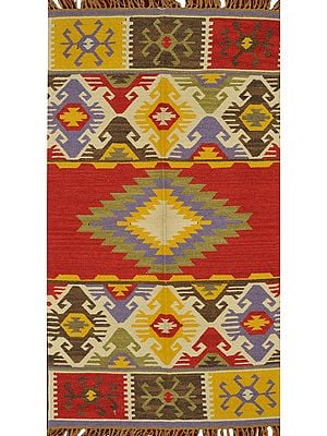 Multicolor Handloom Dhurrie from Sitapur with Kilim Weave