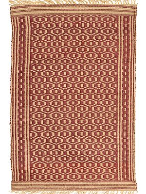 Maroon and Beige Dhurrie from Telangana with Woven Bootis