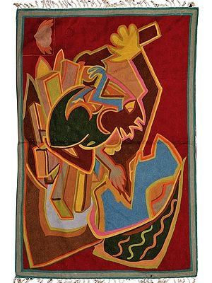 Multicolor Art-Deco Embroidered Asana Mat from Kashmir