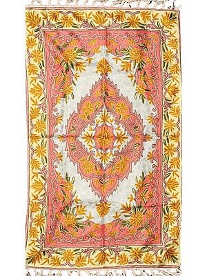 Cream and Pink Kashmiri Asana Mat with Embroidered Floral Motifs