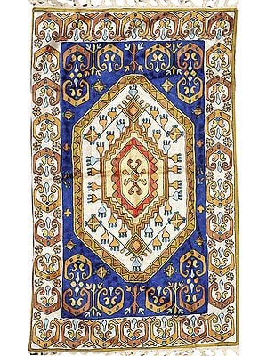 Blue and White Embroidered Asana Mat from Kashmir with Persian Design