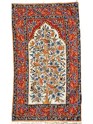 Red and White Tree of Life Asana cum Wall Hanging from Kashmir