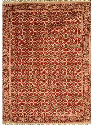 Red Kalamkari Dhurrie from Telangana with Floral Print