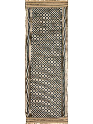 Blue and Beige Runner from Telangana with Woven Bootis