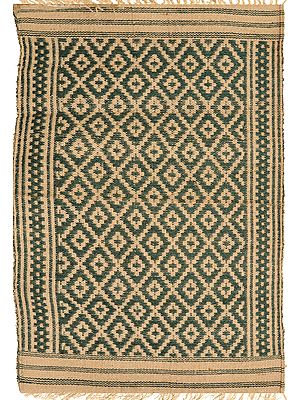 Green and Beige Aasan from Telangana with Woven Bootis