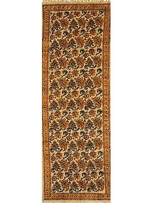 Almond-Buff Runner Kalamkari Dhurrie from Telangana with Printed Florals