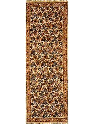 Almond-Buff Runner Kalamkari Dhurrie from Telangana with Printed Florals