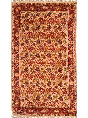 Almond-Buff Kalamkari Dhurrie from Telangana with Printed Flowers