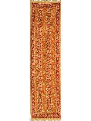Desert-Dust Kalamkari Dhurrie Runner from Telangana with Printed Flowers