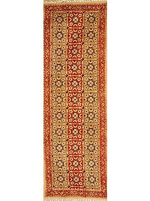 Marzipan Kalamkari Dhurrie Runner from Telangana with Printed Flowers