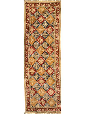 Honey-Peach Kalamkari Dhurrie Runner from Telangana with Printed Flowers