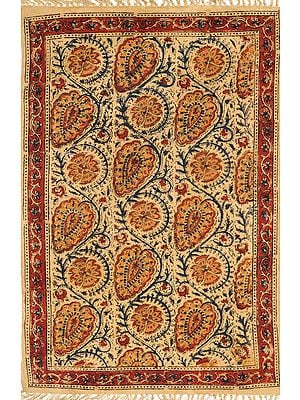 Almond-Buff Aasan from Telangana with Printed Flowers