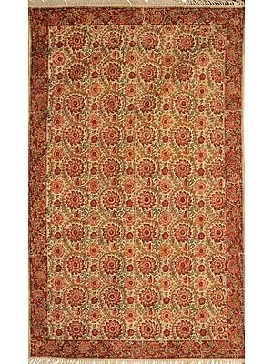 Bleached-Sand Dhurrie from Telangana with Printed Flowers