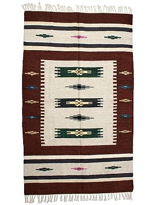Apple-Butter Kilim Dhurrie from Sitapur with Woven Stripes and Motifs