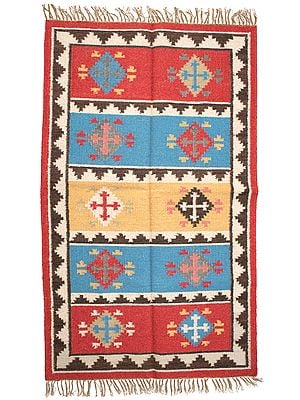 Multicolor Handloom Dhurrie from Sitapur with Woven Kilim Motifs
