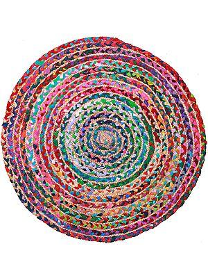 Multicolor Stripes Woven Round Asana Mat
