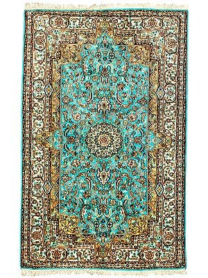 Blue-Mist Handloom Carpet from Kashmir with Knotted Flowers