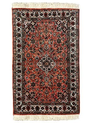 Coral-Reef Handloom Carpet from Kashmir with Knotted Flowers